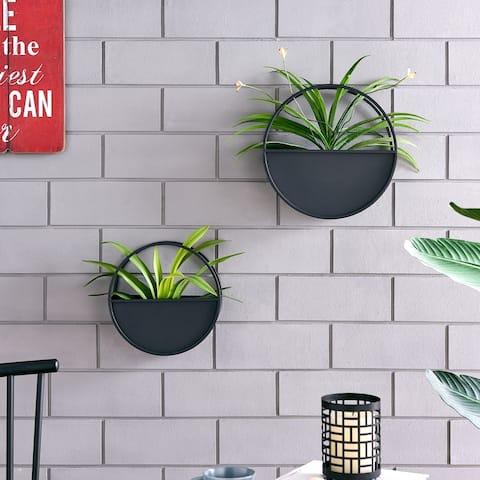 Round 2-Piece iron Wall Planter Set - Black