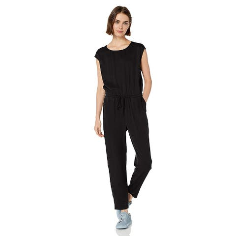 Daily Ritual Women's Tencel Short-Sleeve Jumpsuit, Black, 16, Black, Size 16.0