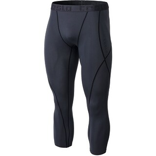 Tesla MUC18 Contour-Stitch 3/4-Length Compression Tights - Charcoal/Black