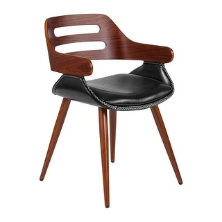 Offex Contemporary Walnut Bentwood Side Reception Chair with Cross Stitched Black Leather Seat