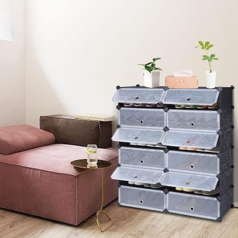 DIY Plastic Shoe Rack Storage Organizer,Modular closet cabinet with Doors