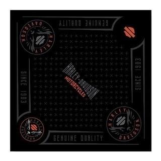 "Harley-Davidson Men's Velocity Bandana - Black & Orange, 24 x 24 inch BA31430 - 24"" x 24"""