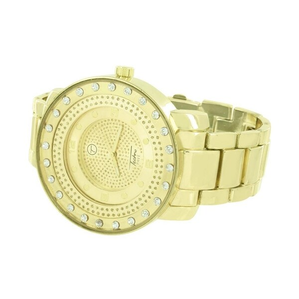 Mens Round Face Watch Gold Tone Simulated Diamonds Techno Pave Analog Display Quartz Movement Stainless Steel Back