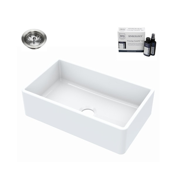 Turner Farmhouse Fireclay 30 in. Single Bowl Kitchen Sink in Crisp White with Drain and CareIQ Kit. Opens flyout.