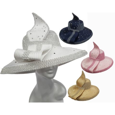 Women's Year-Around Satin Ribbon Designer church derby Hat