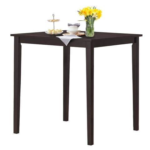 Gymax Square Dining Table w/Rubber Wood Legs Kitchen Furniture - Espresso