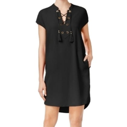 2fc75d40a Shop Calvin Klein NEW Black Size 12 Junior Shift Lace-Front Tassel Dress -  Free Shipping On Orders Over $45 - Overstock - 18324185