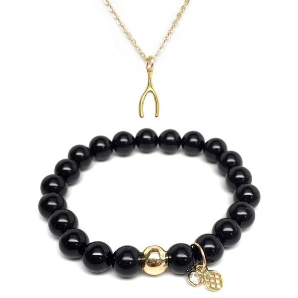 "Black Onyx 7"" Bracelet & Wishbone Gold Charm Necklace Set"
