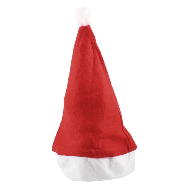 Unique Bargains Adult White Pom-pom Top Rim Red Velvet Santa Claus Xmas Hat