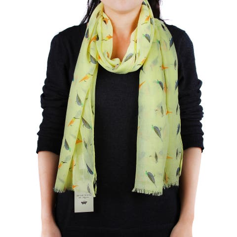 Richie House Women's Patterned Birds on Yellow Scarf - Standard