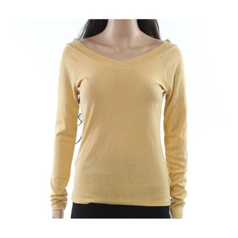 Pink Rose Deep Yellow Women's Size Large L V-Neck Ribbed Knit Top 457