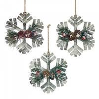 Rustic Snowflake Ornament Trio