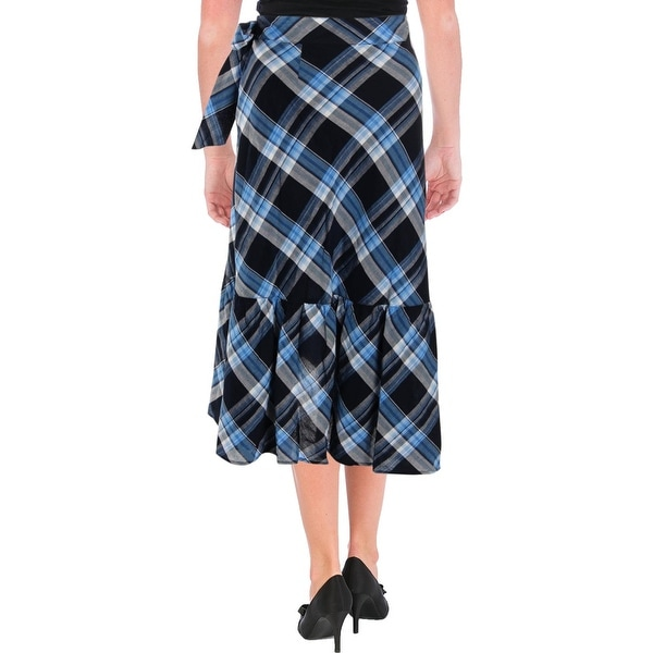 Lauren Ralph Lauren Womens Asymmetrical Skirt Plaid Ruffled