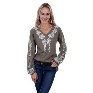 Scully Western Shirt Womens Long Sleeve Embroidery V-Neck