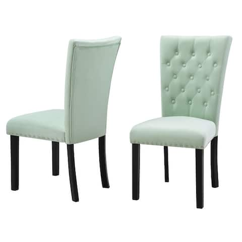 Silver Orchid Flohr Tufted Velvet Dining Chairs (Set of 2)