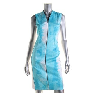 T Tahari Womens Miri Sleeveless Zip Front Wear to Work Dress