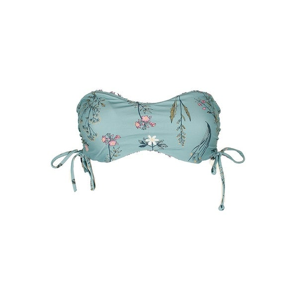 02b8b02ad21bf Oneill Green White Floral Print Piper Reversible Strapless Bandeau Bikini  Top L