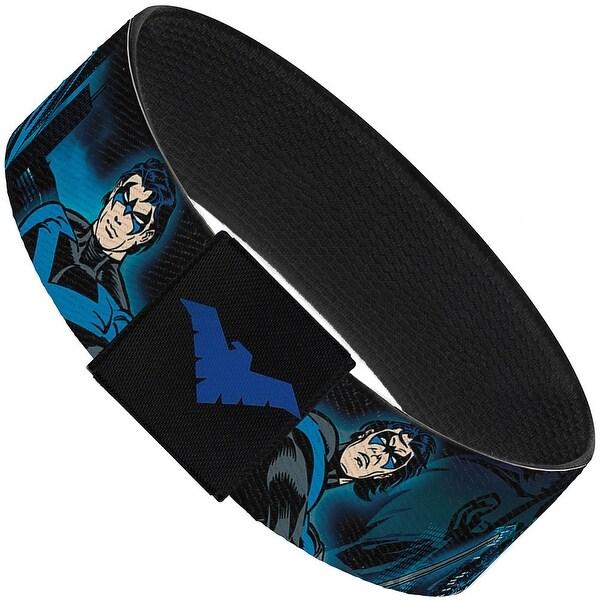 Nightwing Action Poses Cityscape Blues Black Elastic Bracelet