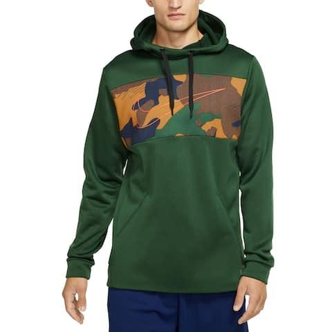 Nike Men's Sweater Green Size Medium M Camo Logo Dri-Fit Therma Hooded