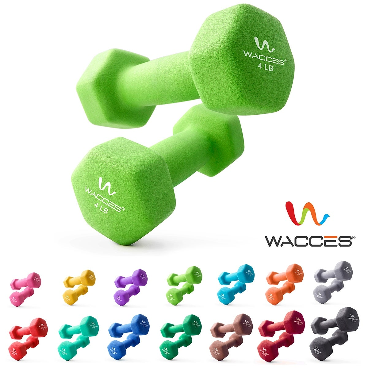 2-Pack Neoprene Coated Dumbbell Hand Weights Set Non Slip Grip Wacces Standard