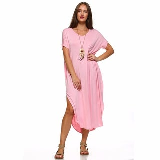 Isaac Liev Women's Short-Sleeve Maxi Dress With Slits