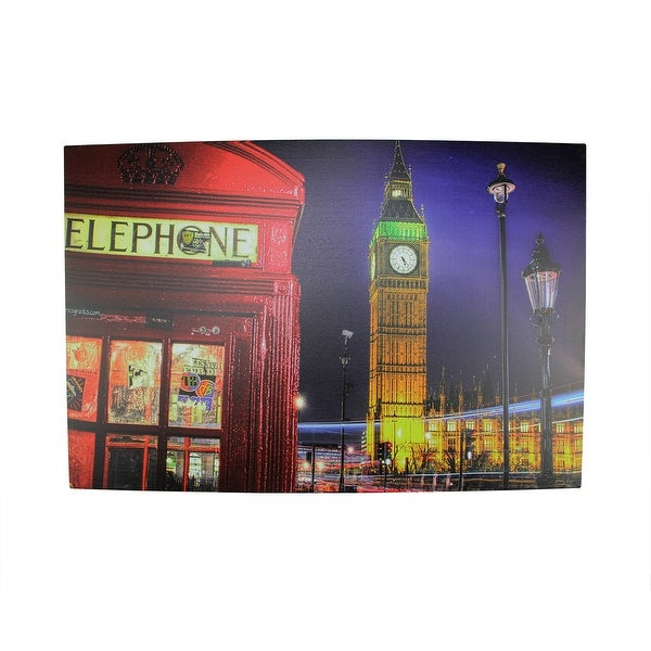 "LED Lighted Famous Big Ben and Red Telephone Box London Canvas Wall Art 15.75"" x 23.5"""