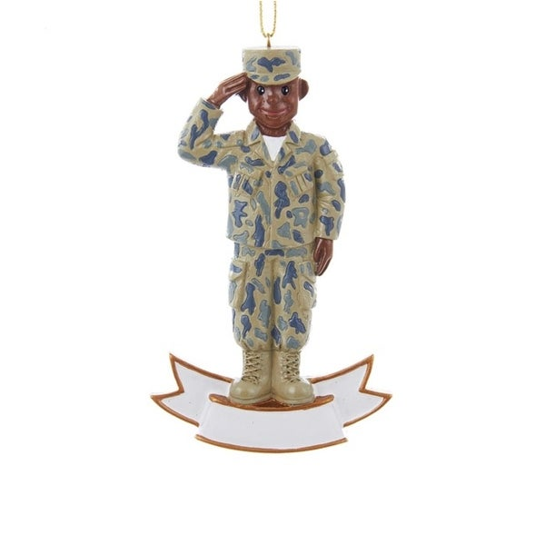 "4.25"" U.S. Army Saluting Soldier in Uniform Decorative Christmas Ornament for Personalization - green"