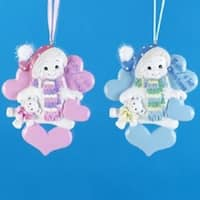 Club Pack of 12 Snowman Baby Boy & Girl Christmas Ornaments for Personalization - multi