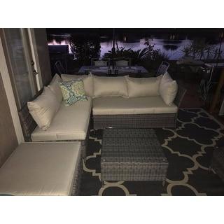 Corvus Bellanger 4-piece Grey Wicker Patio Furniture Set