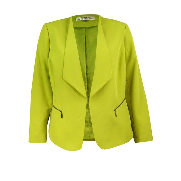 ef2afdb6a2c Shop Tahari Women s Plus-Size Open-Front Blazer - Chartreuse Green - Free  Shipping Today - Overstock - 19978302