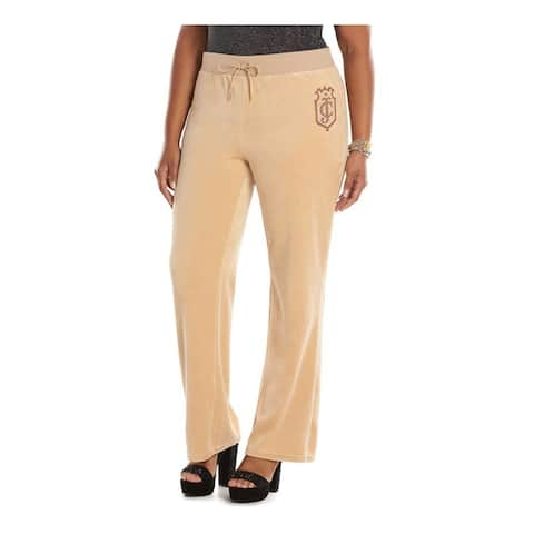 Juicy Couture Womens Velour Graphic Bootleg Athletic Sweatpants, beige, 0X Regular