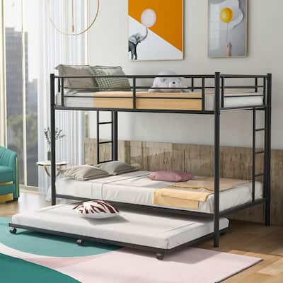 Metal Frame Twin over Twin Bunk Bed with Trundle,2 Ladders