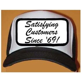 Satisfying Customers Since '69 Black & White Mesh Cap Hat