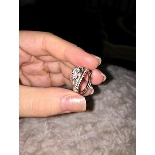 Annello 14k Gold 1-1/10ct TDW Diamond Bridal Rings Set