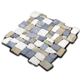 Miseno MT-Q3RTWG Cube Mosaic Natural Stone Tile (9.68 SF / Carton)