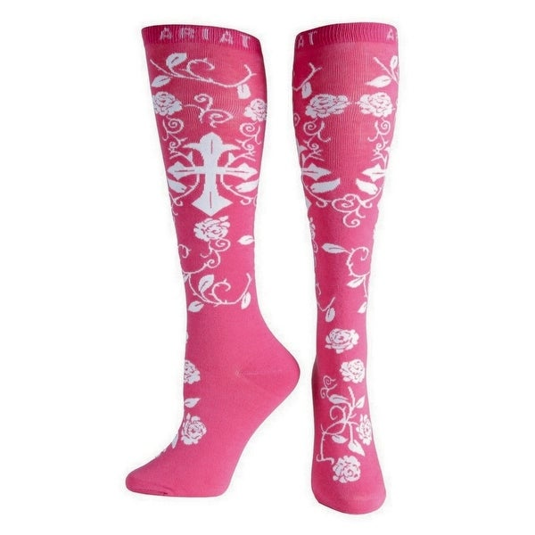 Ariat Socks Womens Western Knee High Cross Roses One Size - One size