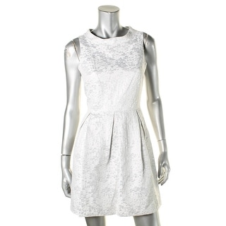 Erik + Lani Womens Juniors Party Dress Metallic Pleated - M