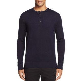 Bloomingdales Mens Merino Wool Henley Sweater X-Large XL Navy Four-button Placket