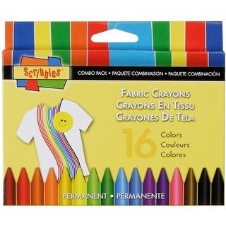 Scribbles Fabric Crayons 16/Pkg-Primary & Neon - primary & neon