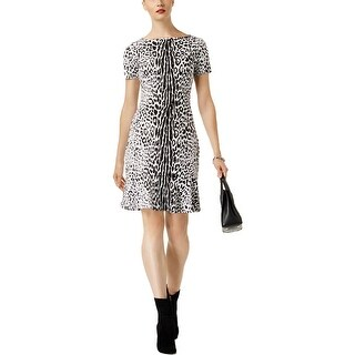 MICHAEL Michael Kors Womens Flounce Dress Knee Length Animal Print