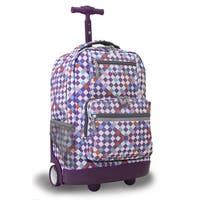J World New York Sunrise Rolling Backpack, Checkmate