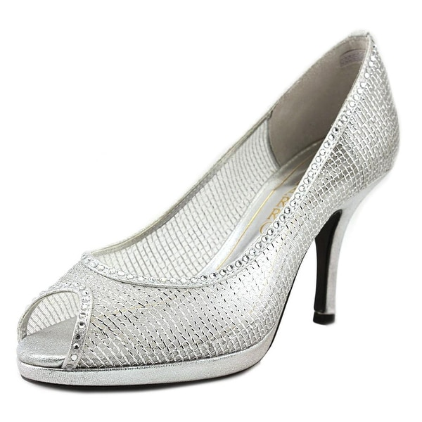 Caparros Future Women Peep-Toe Synthetic Silver Heels