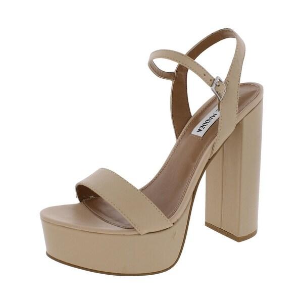 Steve Madden Womens Glitter Dress Sandals Open Toe Block Heel