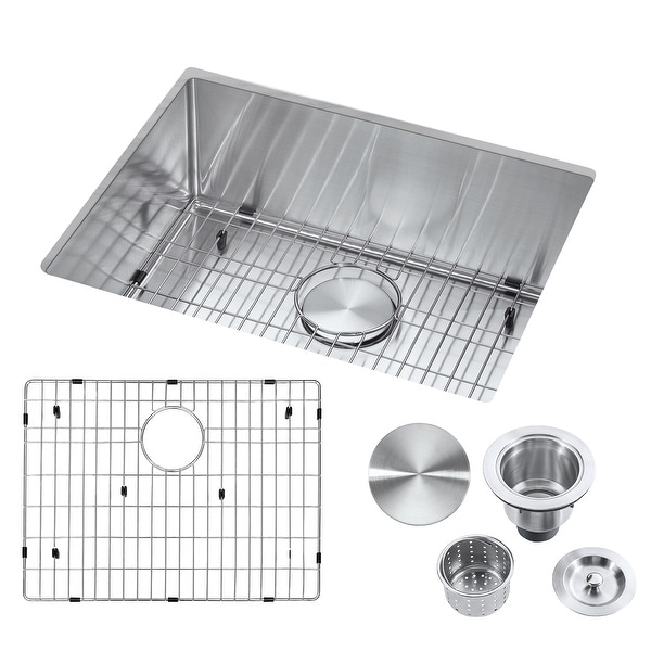 """23"""" Undermount Single Bowl Stainless Steel Handmade Kitchen Sink & Drain Strainer, Bottom Grid, All in One (23"""" x 18"""" x 9""""). Opens flyout."""