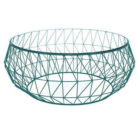 "LeisureMod Malibu Modern Glass Top Coffee Table With Geometric Base - 15"" H x 34.5"" W x 34.5"" D"