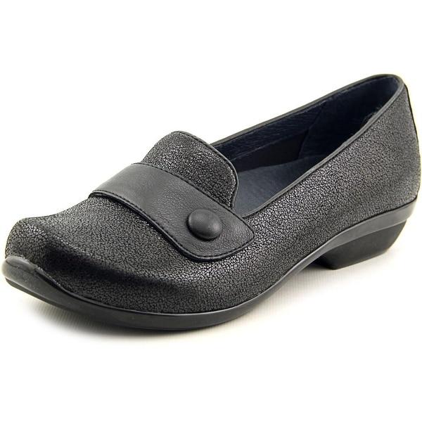 Dansko Olena Crackle Women Round Toe Leather Black Loafer