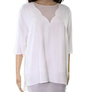 Boss NEW White Scalloped Neckline Women's Size 12 Illusion Blouse