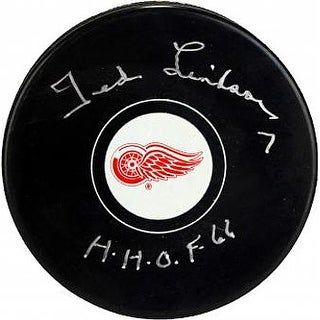 Ted Lindsay signed Detroit Redwings Hockey Puck HHOF 66