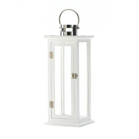 White Wooden Large Candle Lantern