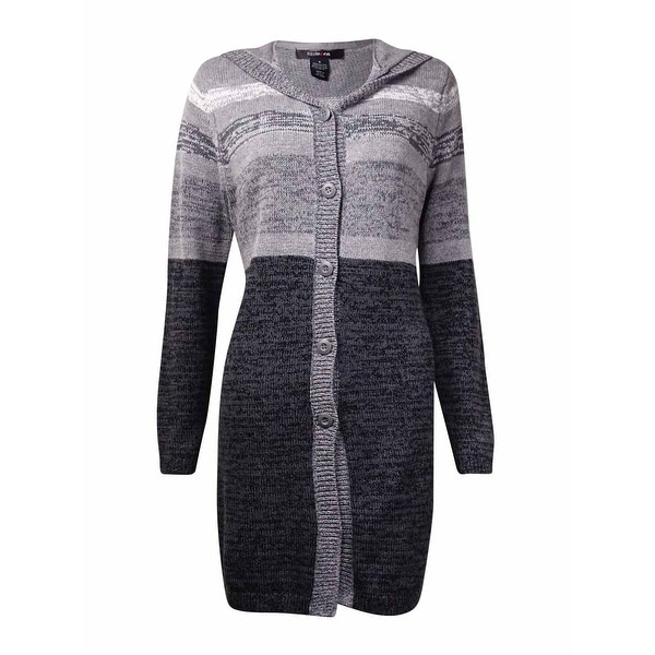 Style & Co. Women's Marled Knit Button Stripe Sweater - heather grey combo - s